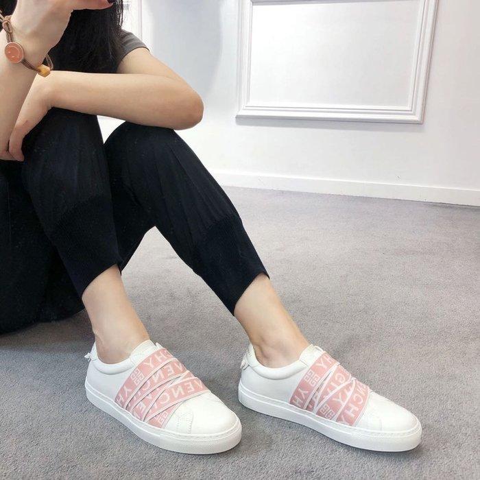 【TONES.】Givenchy 白粉 綁帶 設計皮革 Logo 小白鞋