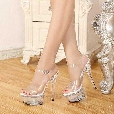 女鞋魚口鞋恨天高模特T臺走秀性感水晶鞋15cm超高跟鞋透明防水臺魚嘴女涼鞋