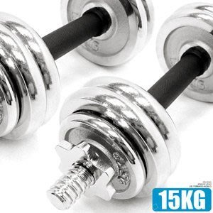 電鍍15公斤啞鈴組合包膠握套33磅可調式15KG啞鈴短槓心槓片槓鈴重力舉重量訓練運動健身器材推M00166【推薦+】