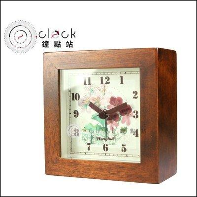 【鐘點站】原木花開系列 - B款 / 正方造型鬧鐘 / 深咖啡 / 無印風格 / 經典原木色