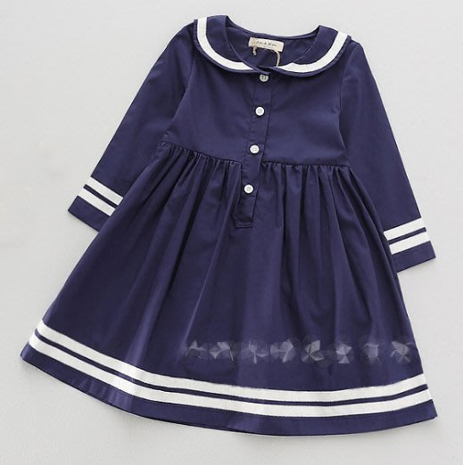 女童純棉學院風海軍領海軍風洋裝  稀有美款 2Y-10Y【A11】