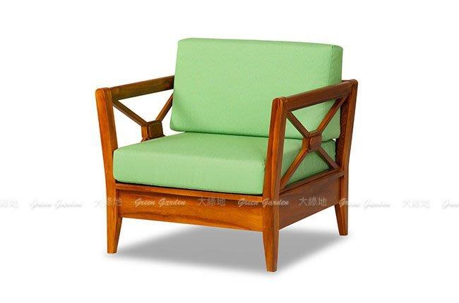 思可莉 柚木單人沙發椅【大綠地家具】100%印尼柚木實木/經典柚木/實木沙發/現代簡約
