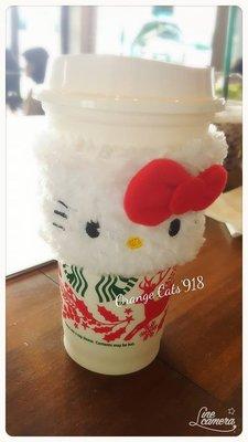 日本 2019 數量限定 毛絨絨 可愛 HELLO KITTY 二用環保杯套 冬季隔熱/夏季 吸水杯套 一般咖啡杯身可用