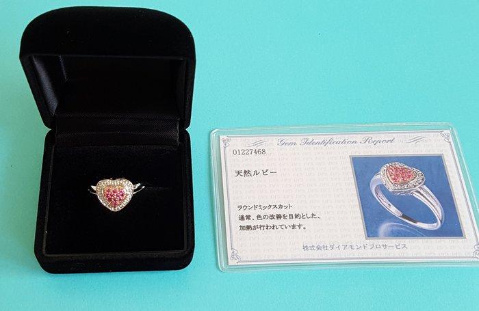 天然紅寶石戒指, K18GP 戒指 ,  附鑑定證書