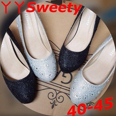 ☆。(丫 丫 Sweety)☆。大尺碼女鞋。時尚小鑽菱形碎花設計高跟鞋(A28)40~45下標時以即時庫存為主