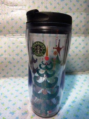 Starbucks 星巴克 2003年12oz舊logo耶誕樹圖案透明隨行杯!全新,限量!