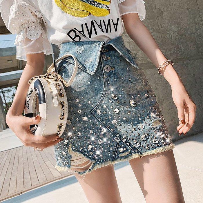《巴黎拜金女》牛仔裙半身裙高腰燙鑽修身顯瘦包臀裙短一步裙