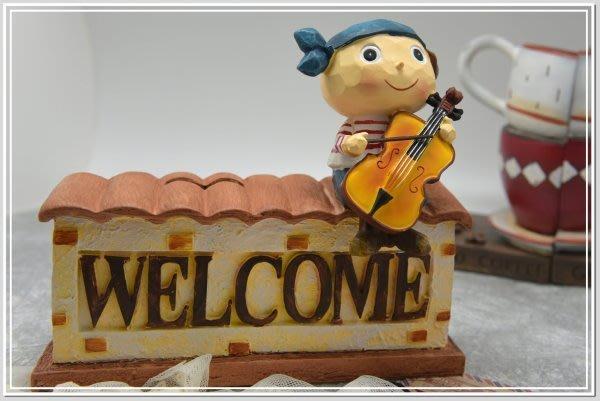 @@品登家具@@鄉村雜貨 情侶 兩小無猜 WELCOME大提琴 小提琴 撲滿 存錢筒 婚禮佈置  新婚禮物[男女2款]