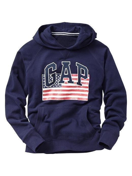【天普小棧】GAP Logo USA flag hoodie車繡logo美國國旗帽T長袖連帽T恤外套M號 現貨抵台