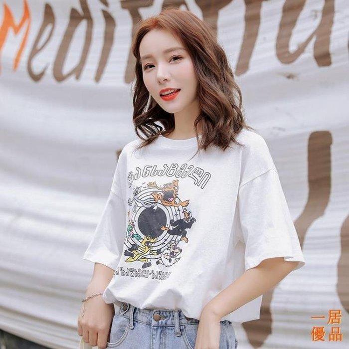 T恤女 2019夏季韓版純棉印花短袖t恤女顯瘦上衣寬鬆外穿ins半袖打底衫潮
