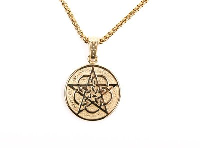 貝琳·gold plated Pentacle necklace 鍍金五芒星吊墜項鍊男女鎖骨鍊