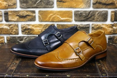 『老兵牛仔』JS9731商務休閒英倫風孟克男鞋/頭層牛皮/時尚/彈力/耐摩/個性