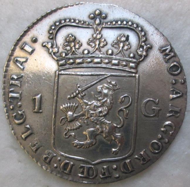 尼德蘭銀幣 1792 Dutch, Utrecht, West Indies 1 Silver Gulden.