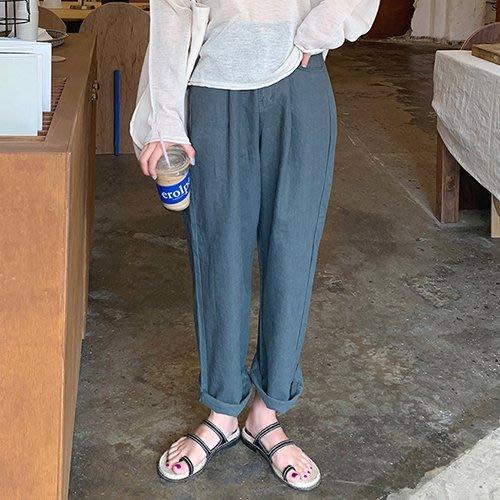 i-Mini 韓國正品~後腰圍鬆緊亞麻寬鬆直筒褲4色‧正韓連線‧空運【B06180560mc】