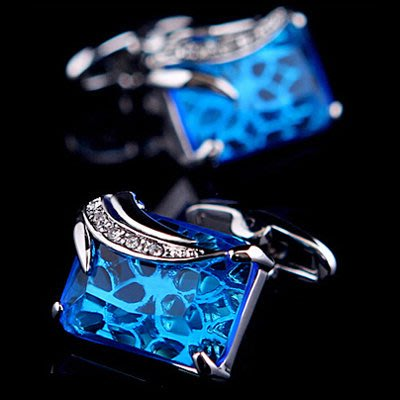 ☆TA精品☆ 男士精品-袖扣  藍色鋯石水晶袖扣  521832671224