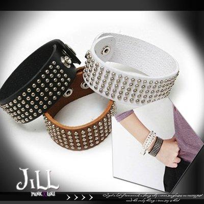 Oo吉兒oOPunk lolita時尚百搭街頭搖滾 龐克情侶皮製手鍊鉚釘手環【J1U6017】