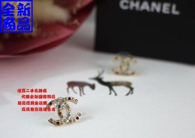 ☆優買二手名牌店☆ CHANEL AB3111 限量 金色 金屬 水鑽 彩色 寶石 半寶石 針式 耳環 雙c logo 全新商品