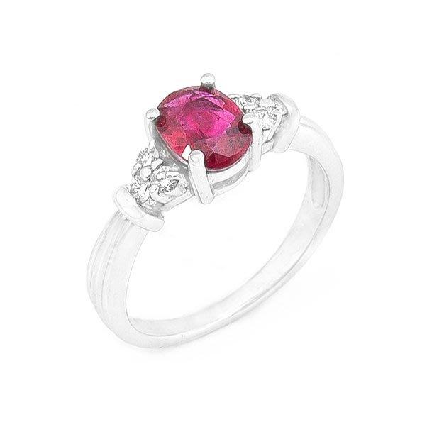 【JHT 金宏總珠寶/GIA鑽石專賣】1.05ct天然紅寶鑽戒/材質:PT900(R00014)