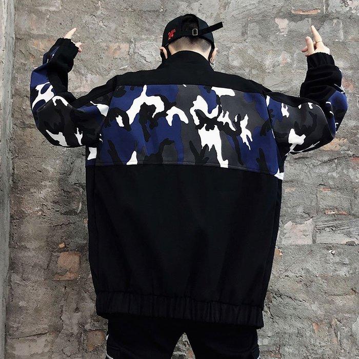 FINDSENSE品牌2019 新春 新款 韓國  長袖 運動 翻領 拼接 套頭字母 迷彩 外套  時尚 潮流上衣 外套