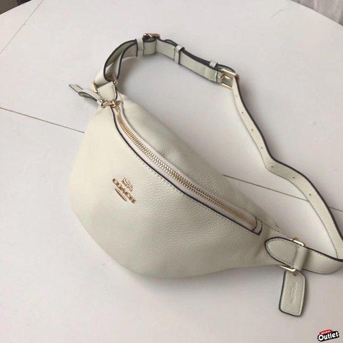 【全球購.COM】COACH 48738 新款女士腰包 胸包 荔枝紋全皮收納包 白色手機包 美國代購