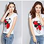 日韓服飾*米老鼠鑲鑽印花T恤(白色)*韓國連...