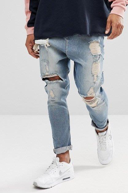 ◎美國代買◎ASOS刷破破洞設計尿布褲哈倫褲型英倫時尚仿舊淺藍刷色刷破牛仔褲~歐美街風~大尺碼~