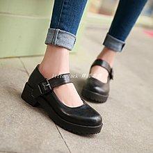 litterluck-韓國專櫃新款日系大碼偽娘cos黑色jk鞋 娃娃公主鞋學院風女粗學生跟皮鞋