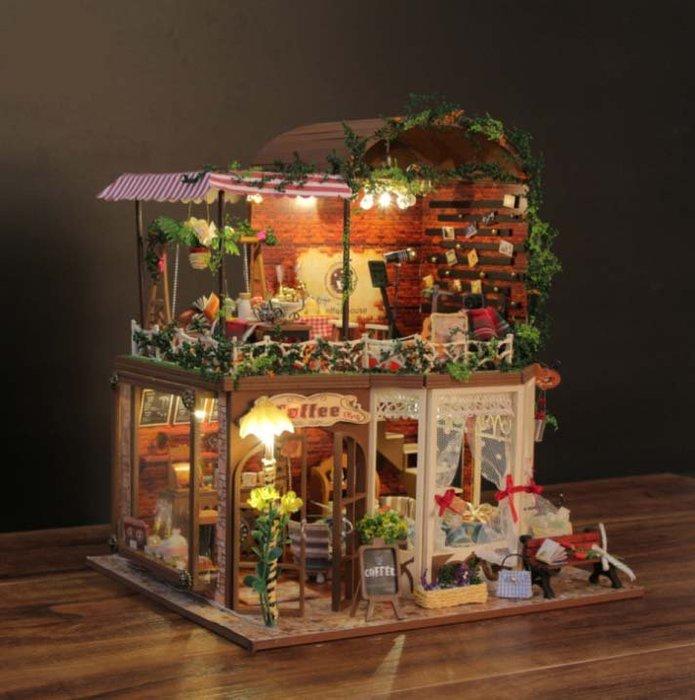 【批貨達人】芮婭的時光 手工拼裝 手作DIY小屋袖珍屋 帶防塵罩 音樂 迷你屋 創意小物 生日禮物 交換禮物