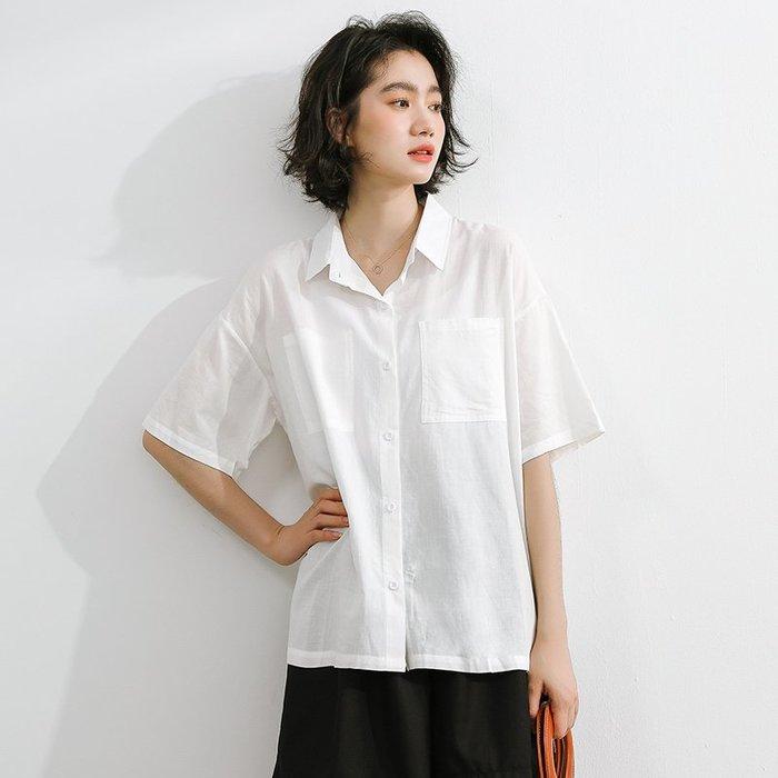 SEYES 日系雜誌款基本款清新學院風白色短袖襯衫