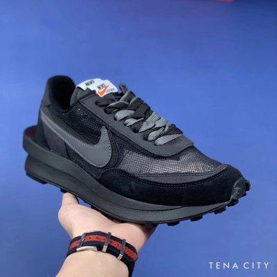 Sacai x Nike LVD Waffle Daybreak 網面 全黑 雙勾 厚底 男鞋 慢跑鞋