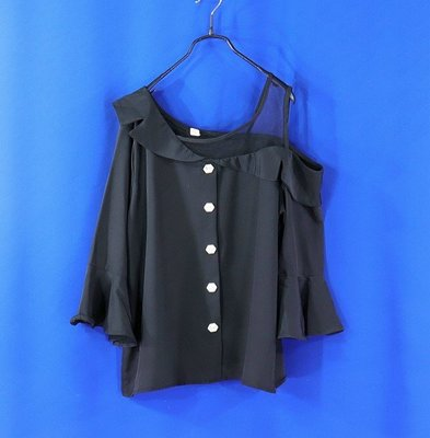 ※衣網情深※女【正韓balen】韓國製 黑色 單肩拼網紗 造型上衣 F號1820○99元起標○