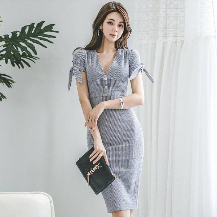 洋裝 #2059 🌸Mini Moda🌸 文青條文 修身包臀