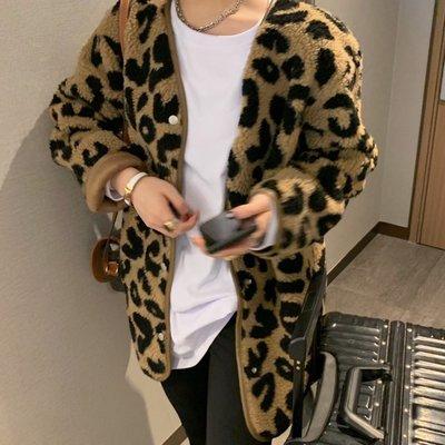 時髦豹紋羊羔毛麂皮絨無領外套 寬鬆繭型皮毛一體開衫 歐美韓國 ♥ C Select Shop