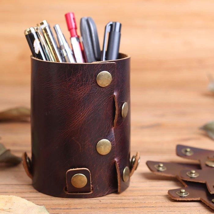~皮皮創~原創設計創意牛皮拼接暗釦設計真皮筆筒 個性獨特有格調 桌面收納盒 多功能筆筒 可拆 可組合