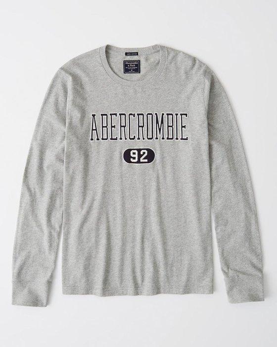 Maple麋鹿小舖 Abercrombie&Fitch * AF 灰色電繡字母長T * ( 現貨M/L號 )