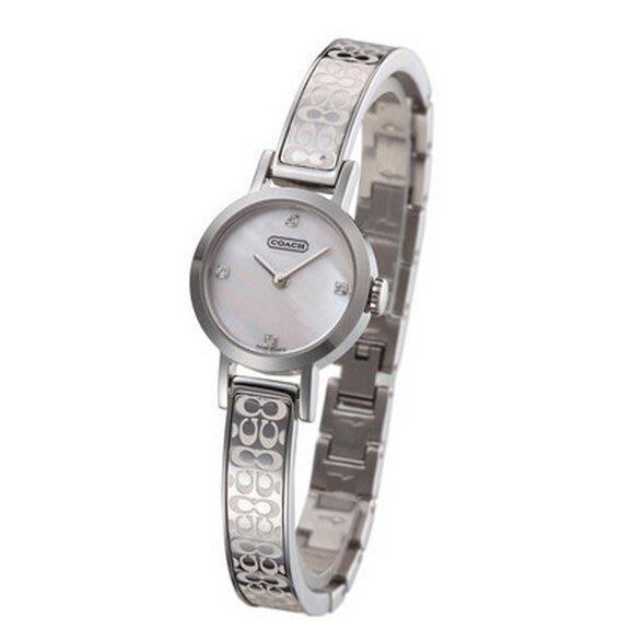 我愛名牌COACH包 美國100%正品【清倉低價出售購買兩件免運】14500850手鐲式小巧圓盤金鋼石英女手錶