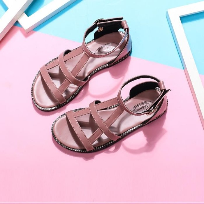 女童涼鞋2018新款韓版夏季時尚兒童中大童羅馬平底小公主鞋子軟底