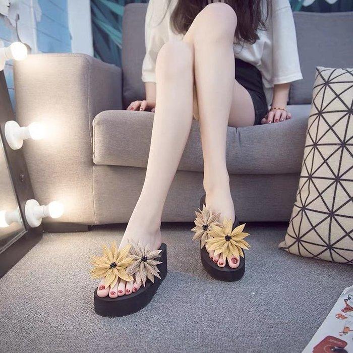 夏季花朵厚底拖鞋涼鞋海灘鞋松糕鞋夾腳拖鞋