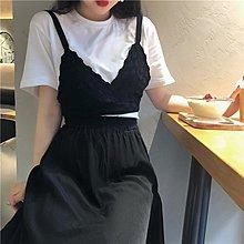 Freedom.~Sukol 實 簡約百搭白色短袖T恤+洋氣黑色吊帶 套裝
