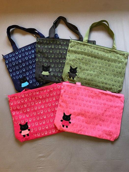 日本卡拉貓~跳舞小黑貓防水側背包 肩背包