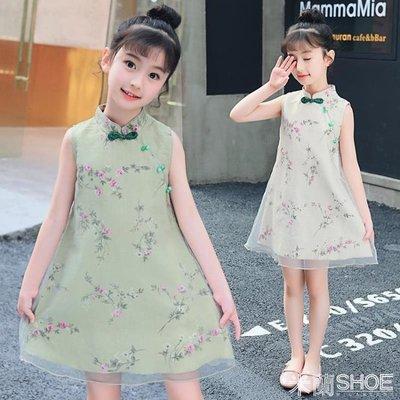 女童洋裝 童裝女童旗袍中國風小女孩連身裙兒童中大童公主裙 米蘭shoe