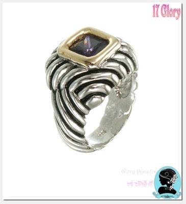 紐約時尚戒指 中性帥氣品味  方型紫水...