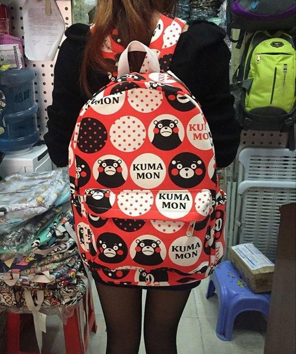 可愛熊本熊後背包雙肩包書包帆布背包休閒背包可愛學院風格旅行背包