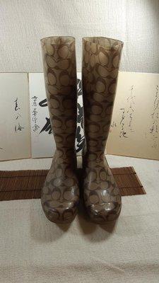 COACH 真品 正品 C logo 雨靴 69成新 Y-0180