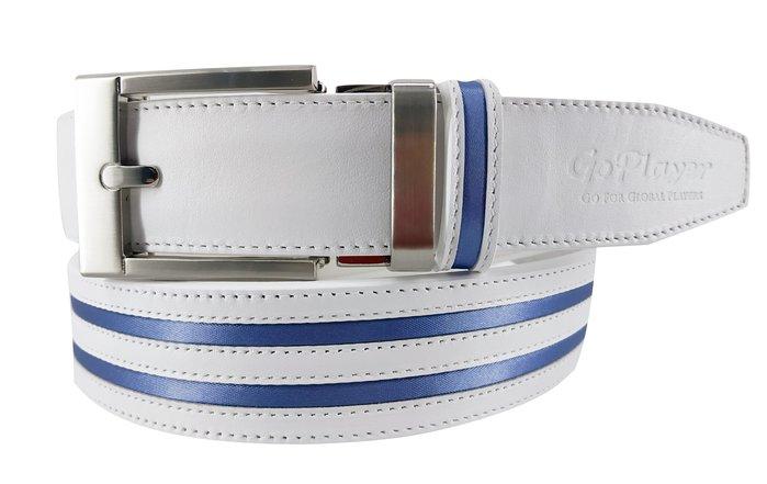┌喻蜂高爾夫┐GoPlayer 寬自動扣皮帶 白藍 現貨供應中