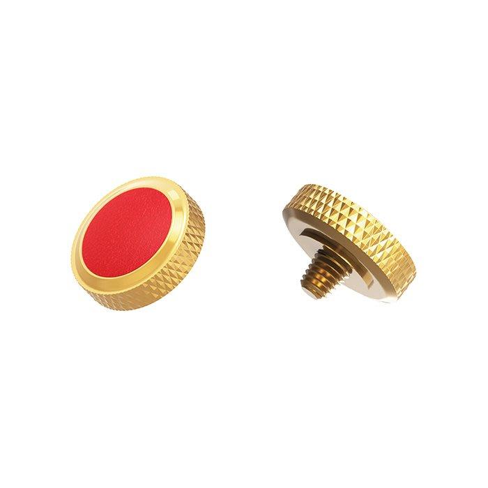 【傑米羅】JJC 機械相機 螺牙式 快門按鈕 增高鈕《純銅製 豪華版》(SRB-DGD 金框紅皮) - 帶防脫圈 防鬆脫
