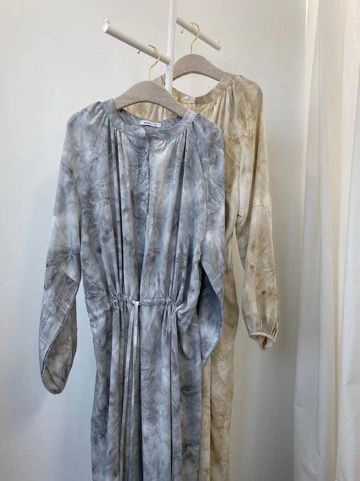 *Her Hanna* 韓國設計師品牌 現貨 2020春季最新款 獨特石紋連身裙 腰圍修身可調整 正能量金世正穿搭 唐熒霜