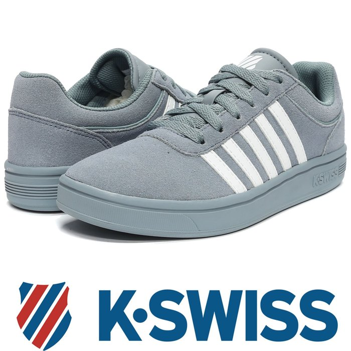 鞋大王K-SWISS 95676-034 蒼青藍 反毛皮休閒運動鞋【免運費,加贈鞋油和襪子】729K
