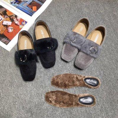 方頭毛毛單鞋女秋冬季2018新款韓版中粗跟百搭馬毛套腳懶人鞋潮