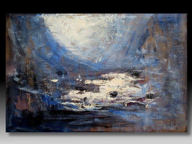 【 金王記拍寶網 】U1159  朱德群 款 抽象 手繪原作 油畫一張 罕見 稀少 藝術無價~